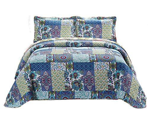Fancy Collection 3pc Bedspread Bed Cover Floral Blue Teal Green New #78 King/california King Over Size 118