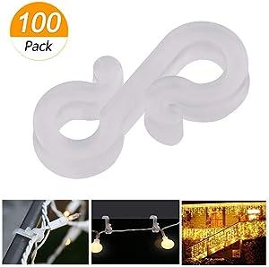 Meetory Christmas Mini Gutter Hang Hooks Weatherproof Plastic S Clip Hooks for Xmas Decoration Outside String Lights (100)
