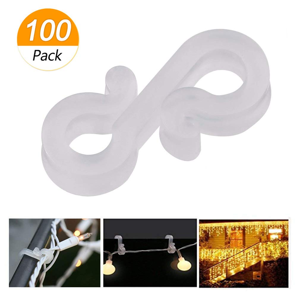 Blulu 100 Pieces Mini Outdoor Light Clips Decoration Clips Clear Self Adhesive Light Hooks for Christmas and Fairy Light