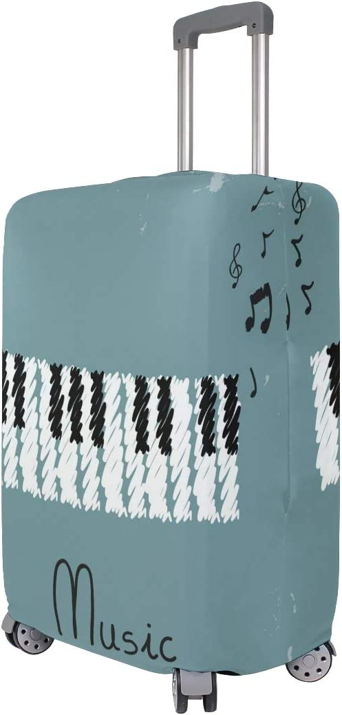 FOLPPLY Retro Musical Piano Luggage Cover Baggage Suitcase Travel Protector Fit for 18-32 Inch