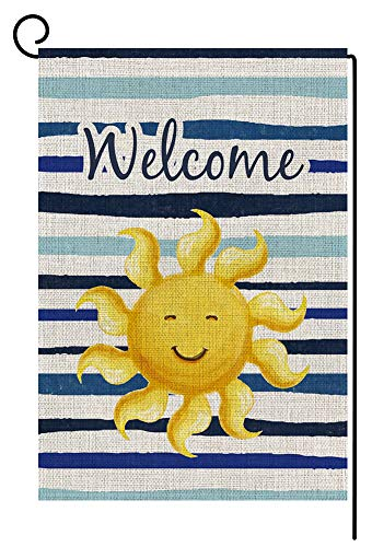 BLKWHT Summer Sun Welcome Garden Flag Double Sided 12.5 x 18 Inch Beach Sunshine Outdoor Yard Decor