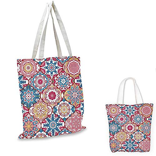 Moroccan Decor Collection thin shopping bag Ethnic Colorful Bohemian Pattern in Pastel Colors with Big Abstract Flowers Ornate Art. canvas tote bag 12