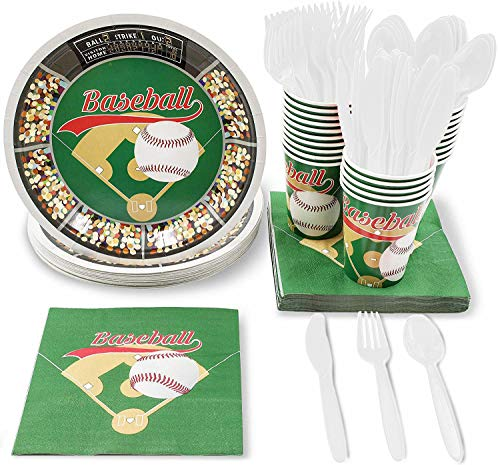 Juvale Baseball Party Supplies for Birthdays and Sports Parties - Plates, Knives, Spoons, Forks, Napkins, and Cups, Serves 24 ()