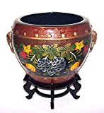 "ADI #FB14D-G Pretty Oriental Painting of Colorful Grapes, Pumpkin and Flowers with Burgundy Background Designs 14"" Diameter Porcelain Fishbowl/Planter plus 5"" Tall Plant Stand"
