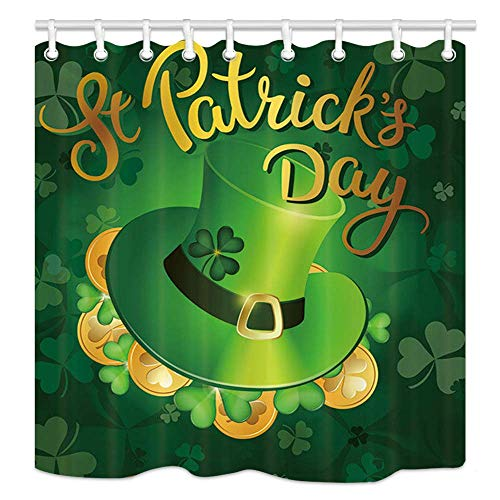 (Abaysto St. Patrick Day Wallpaper Goin with Green Hat in Lucky Leaves Art Bathroom Decor Shower Curtain Sets with Hooks Polyester Fabric Great Gift)