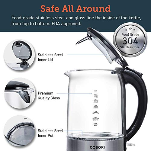 COSORI 1.7L Glass Electric Kettle, Cordless BPA Free Hot Water Boiler, Fast Boiling Tea Kettle with Stainless Inner Lid & Pot, Equipped Blue LED Indicator, Auto Shut-off & Boil Dry Protection, 2-Year Warranty