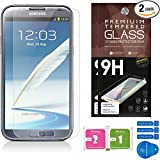 Samsung Galaxy Note 2 Screen Protectors [Set of 2] – Ballistic Tempered Glass – Maximum Impact Protection - 99.9% Crystal Clear HD Glass - No Bubbles – Cell Phone DIY® Premium Protector Kit