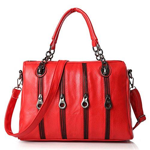 Main Bandoulière à Sac Womens Red Sac BAILIANG PU à Metallic Zipper Bandoulière Fashion O6c0q