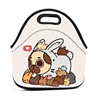 Kawaii Rabbits and Pug Insulated Neoprene Lunch Bag for Men Women and Kids - Reusable Soft Lunch Box for Work and School Water-Resistant 3D Printed