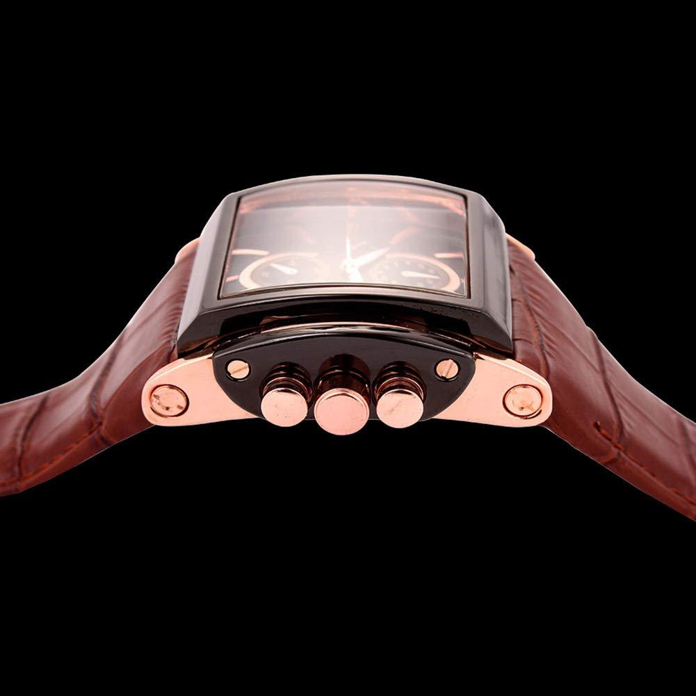 CETLFM herr sportstil klocka, rektangulär urtavla herrklocka, multifunktion hand kvarts smycken klocka, C D
