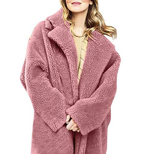 Dressin Women Fuzzy Fleece Jacket Open Front Hooded Cardigan Coat Outwear Pockets ()