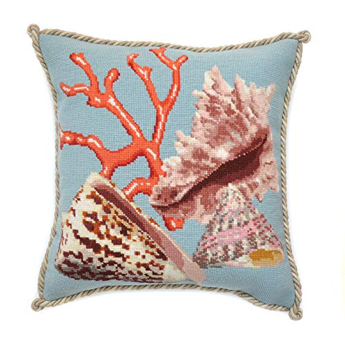 Duck Needlepoint - Red Coral Needlepoint Kit by Elizabeth Bradley. A premium English needlepoint pillow project on a Duck Egg Blue background with 100% wool yarns. Shells Collection.