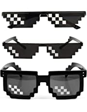 3 Pack Sunglasses Men Women Glass 8 Bit Pixel Mosaic Glasses Props Sunglass Toy Black