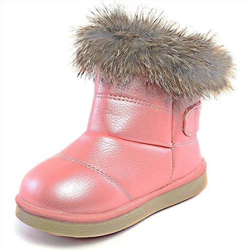 DUSISHIDAN Baby Winter Boots Toddler Soft Sole AntiSlip Snow Crib Shoes Winterstiefel Gefüttert Bow Leder Schneestiefel Autumn Girls Pink