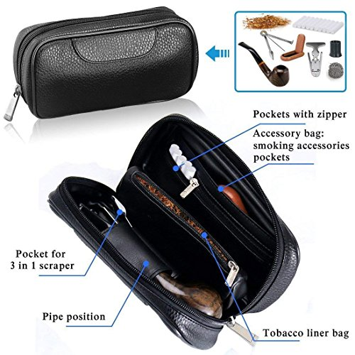 Joyoldelf Luxury Tobacco Smoking Pipe Set, Deepened & Windproof Wooden Pipe with Leather Tobacco Pouch, Wood Stand and Smoking Accessories by Joyoldelf (Image #5)