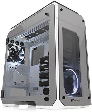 Thermaltake View 71 Snow Vidrio templado de 4 lados Vertical GPU Modular SPCC E-ATX Gaming Full Tower Gabinete de computadora Chasis Vista del radiador de 3 vías con 2 LED blancos Ventilador Riing preinstalado CA-1I7-00F6WN-00