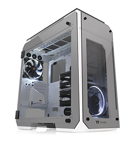 Thermaltake View 71 Snow 4-Sided Tempered Glass Vertical GPU Modular SPCC E-ATX Gaming Full Tower Computer Case Chassis 3-Way Radiator View with 2 White LED Riing Fan Pre-Installed CA-1I7-00F6WN-00