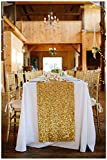 ShinyBeauty 12x72-Inch Rectangle-Gold-Sequin