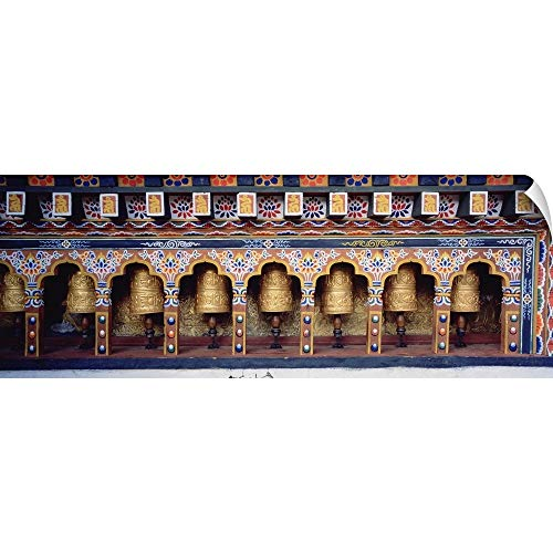"""CANVAS ON DEMAND Wall Peel Wall Art Print Entitled Prayer Wheels in a Temple, Chimi Lhakhang, Punakha, Bhutan 36""""x13"""" from CANVAS ON DEMAND"""