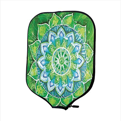 Neoprene Pickleball Paddle Racket Cover Case,Mandala,Grand Mandala with Leaf Forms Symbol of Nature and Zen Theme Green Boho Style Print Decorative,Green Blue,Fit For Most Rackets - Protect Your Paddl