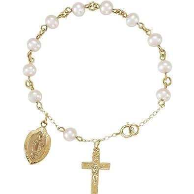 b4c6aaecebdc 14ct con medalla mypiercing agua dulce para perlas pulsera de rosario  pulsera de rosario - JewelryWeb  Amazon.es  Joyería