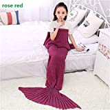 BFY Mermaid Tail Knitted Kids Blanket Crochet Multifunction Warm