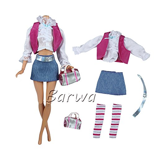 thes/outfit Blouse+vest+skirt+belt+leggings+bag+shoes for Barbie Doll (Royalty Pajamas)