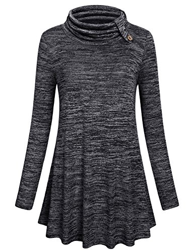 Hibelle Mock Turtleneck Women, Juniors Tops Sequin Long Sleeve Sweater Swing Tunic Knitwear Oversized T Shirt Shimmer Misses Blouses Vintage Patchwork Stylish Tee Draped Youth Sweatshirt Cute Black L