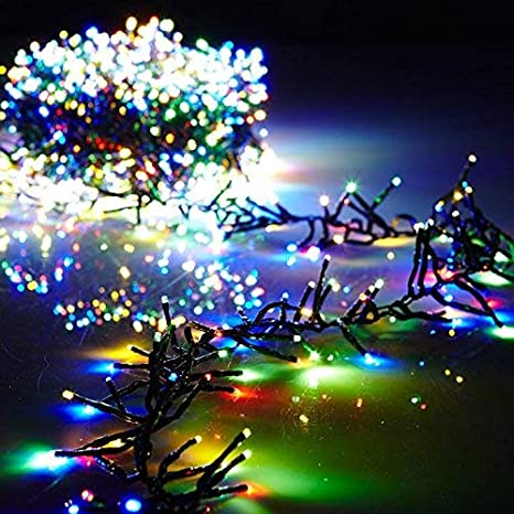 Christmas Cluster Lights Battery Operated 15 Foot Garland with 120 Multi  Color Lights on Green Wire - Amazon.com : Christmas Cluster Lights Battery Operated 15 Foot