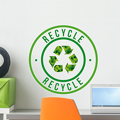 Recycle Icon Wall Decal by Wallmonkeys Peel and Stick Graphic (18 in H x 18 in W) (Recycle Symbol Circle)