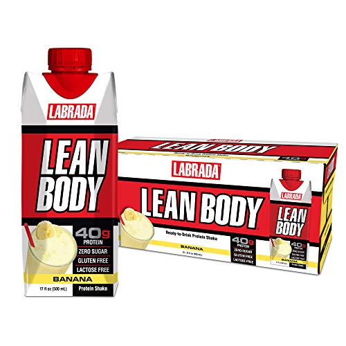 LABRADA - Lean Body Ready To Drink Whey Protein Shake, Convenient On-The-Go Meal Replacement Shake for Men & Women, 40 grams of Protein - Zero Sugar, Lactose & Gluten Free, Bananas & Cream(Pack of 12)