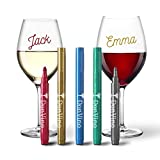 Erasable Wine Glass Markers (5 Pack) - Hostess Gift - Metallic - Gift Package - Food Grade Ink - Dishwasher Safe - Fun Wine Accessories - Alternative to Wine Charms
