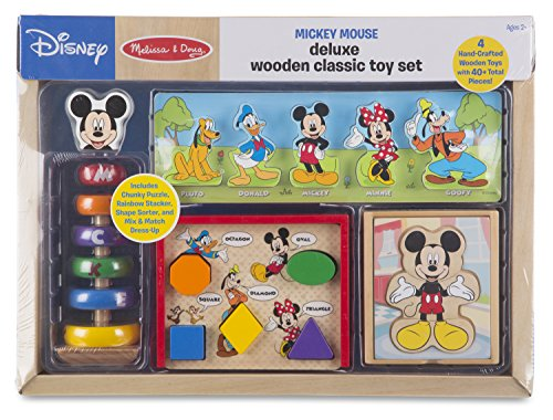 Melissa & Doug Mickey Mouse Deluxe Classic Toy Set Wooden Toy, Multi