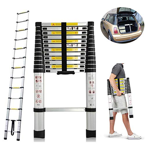 DICN 12.5FT Telescoping Ladders Extending Steps Aluminum 330LB Max Capacity Retractable Straight Ladder for Decoration Outdoor Indoor Home Office Portable Comapct Storage in Car Trunk Transportation