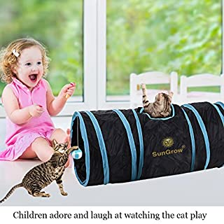 SunGrow Collapsible Cat Tunnel, 36 Inches Long with 3 Openings, Interactive Play Toy with Peep Hole and Crinkle Ball, Ideal for Multi-Cat and Independent Play