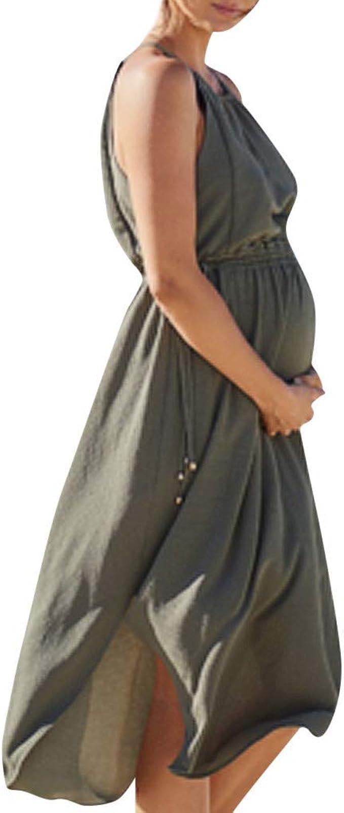 Mujeres sin Mangas Vestido de Maternidad Embarazada Falda sólida ...