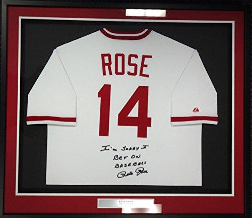 Jersey Baseball Stock (CINCINNATI REDS PETE ROSE AUTOGRAPHED FRAMED WHITE MAJESTIC JERSEY