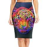 WANING MOON Women's Hip-hop Tiger High Waist Slim Skirt Office Pencil Dress for Women Length