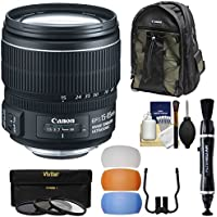 Canon EF-S 15-85mm f/3.5-5.6 IS USM Zoom Lens with 200EG Backpack + 3 UV/CPL/ND8 Filters + Flash Diffusers Kit