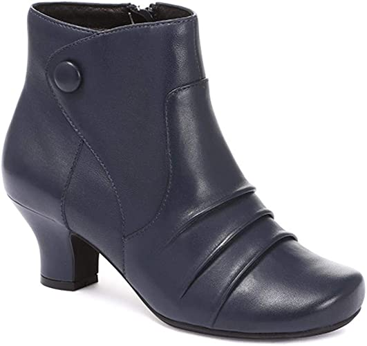 Pavers Extra Wide Heeled Leather Ankle