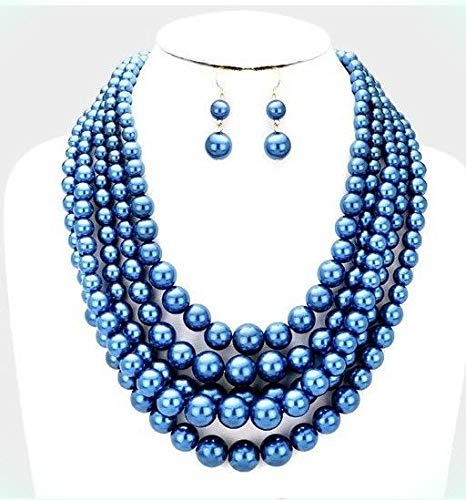 Amazon Com Shiny Royal Blue Pearl Long Bib Multi Layered Strand Bead Necklace Set For Women Beauty