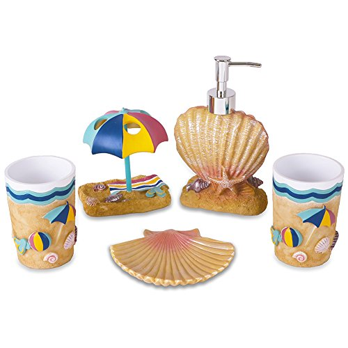 5 Set Piece Beach (V&M VALERY MADELYN 5-Piece Bath Accessories,Coastal Bathroom Accessories Set Include Soap Dispenser,Toothbrush Holder,Tumbler,Soap Dish for Home,Resin Set)