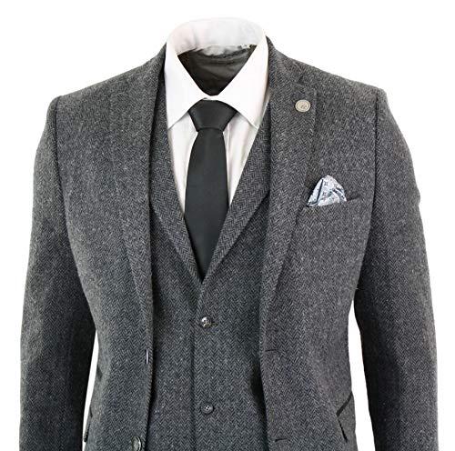 Tweed Anthracite Blinders Costume Chevrons Pièces Noir Rétro Coupe Gris Vintage 3 Homme Peaky À Laine wUqBAxSUt