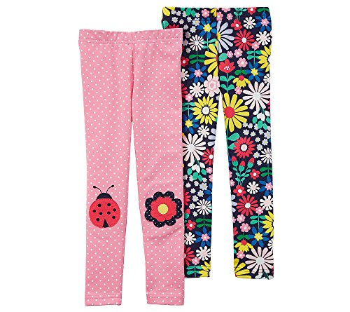 - Carter's Girls' 2T-8 2 Pack Ladybug and Floral Leggings 2T