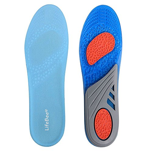 LifeBee GEL Full Length Performance Sport Insole for Men, 2017 New Version, Relieve Foot Pain and Fasciitis