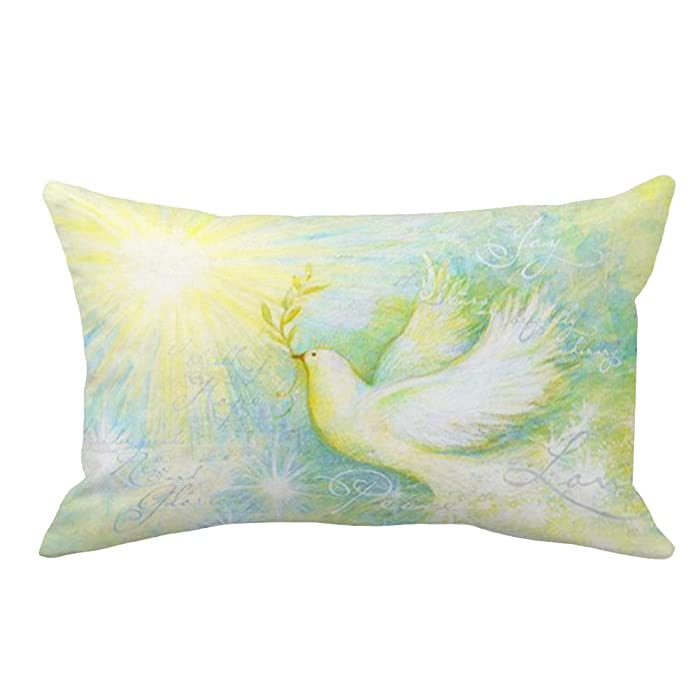 "YANGYULU Hopyeer Watercolor Cute Bird Pattern Throw Waist Pillow Case Peace Dove Holds Olive Branch with Lettering Super Soft Pillow Covers Rectangle Cushion Cover for Sofa Couch 12""x20"" (WC-Dove)"