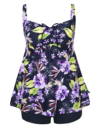 Hilor Women's Retro Pin UP Ruched Halter Floral Tankini Set SwimSuit Purple Flower 22 (Plus Size Bathing Suits)