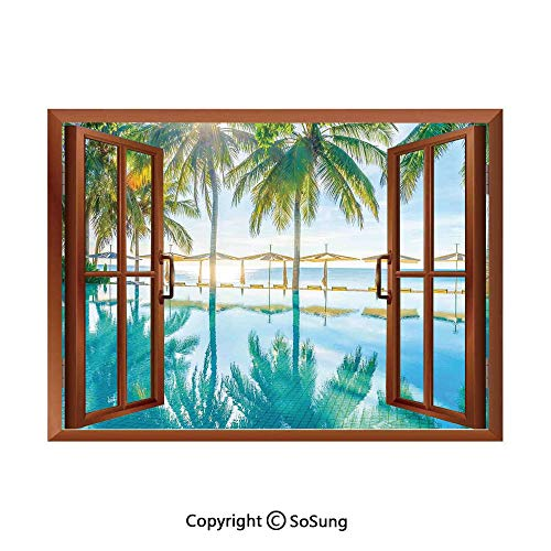 Landscape Removable Wall Sticker/Wall Mural,Pool by The Beach with Seasonal Eden Hot Sunny Humid Coastal Bay Photography Creative Open Window Design Wall Decor,24