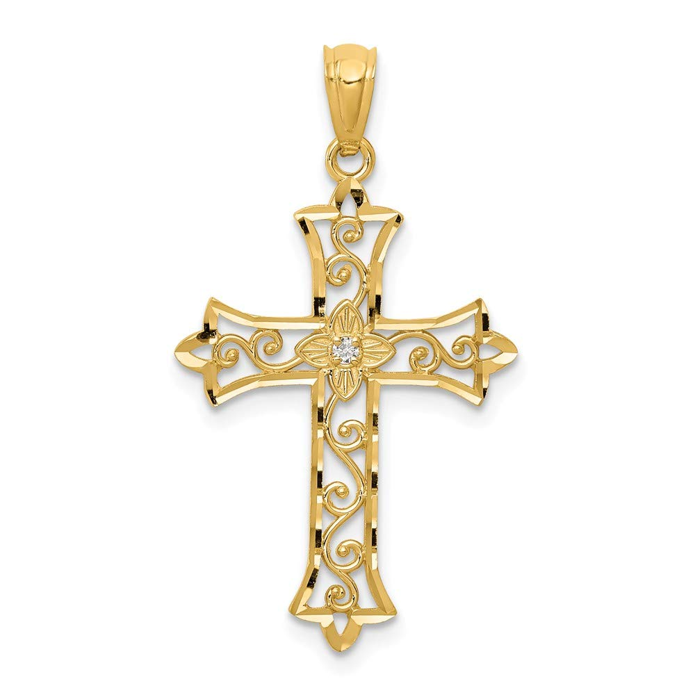 14K Yellow Gold Diamond Cross Pendant Solid 18 mm 32 mm Pendants /& Charms Jewelry