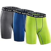 Neleus pantalones cortos de compresión de 3Pack